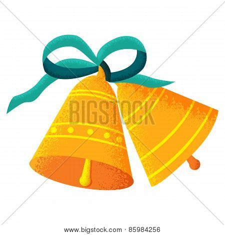 Two golden bells with a blue bow isolated on white background