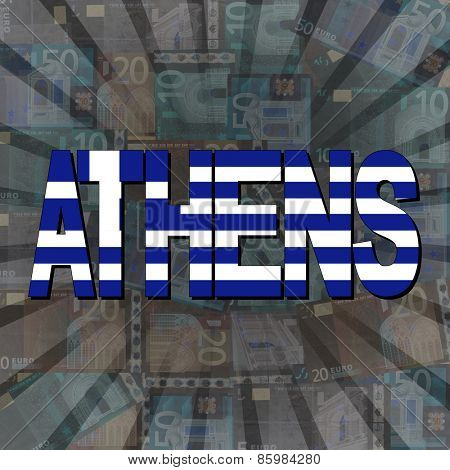 Athens flag text on Euros sunburst illustration