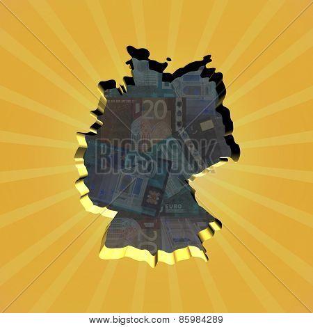 Germany map on euros sunburst illustration
