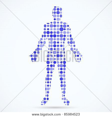 Abstract model of man consisting of circles . Vector illustration.
