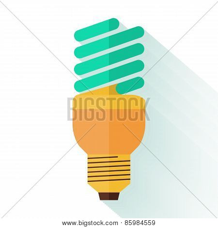 Flat design of energy saving lamp icon. Logo concept. Vector illustration.