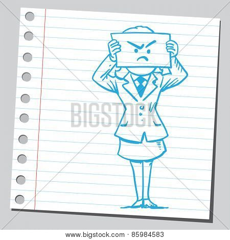 Businesswoman with angry face on paper