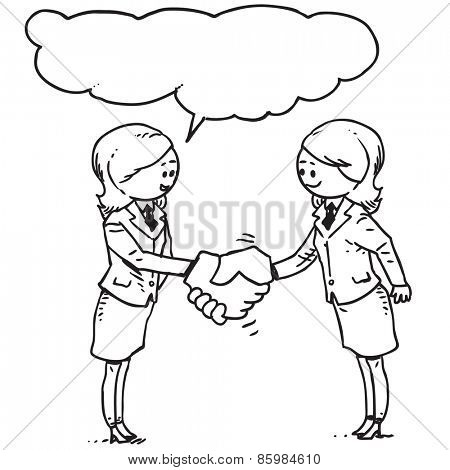 Businesswomen congratulate