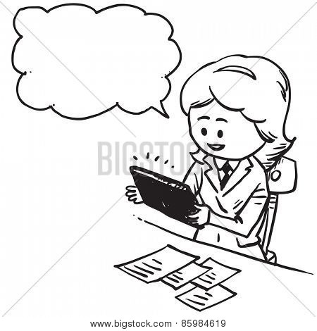 Businesswoman with pc tablet in office speaking