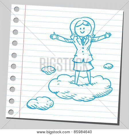 Businesswoman  standing on clouds