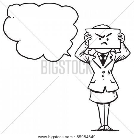 Businesswoman with angry face on paper speaking