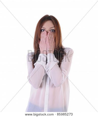 cute, blond girl terrified look on the front