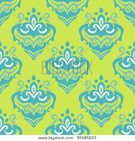 Damask flower vector seamless background