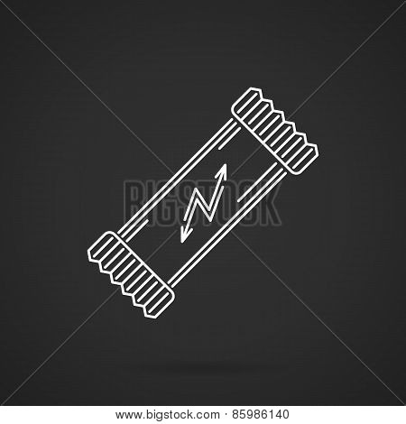 Protein bar white line vector icon