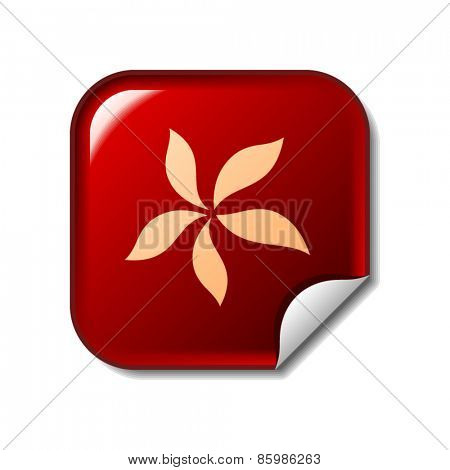Flower icon on red sticker. Vector illustration