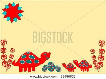Cartoon dinosaur family with easter eggs