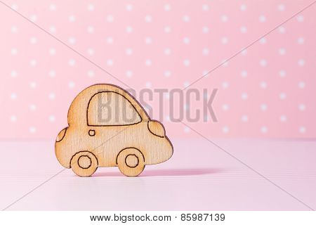 Wooden Car Icon On Pink Background