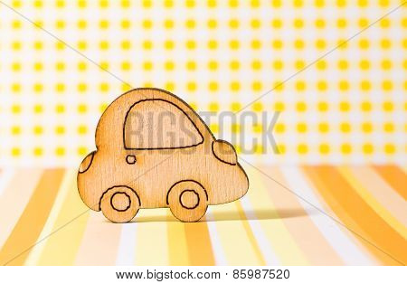 Wooden Car Icon On Yellow Background
