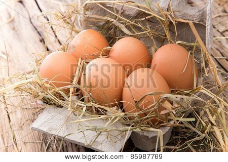 Eggs on wooden background, close-up.