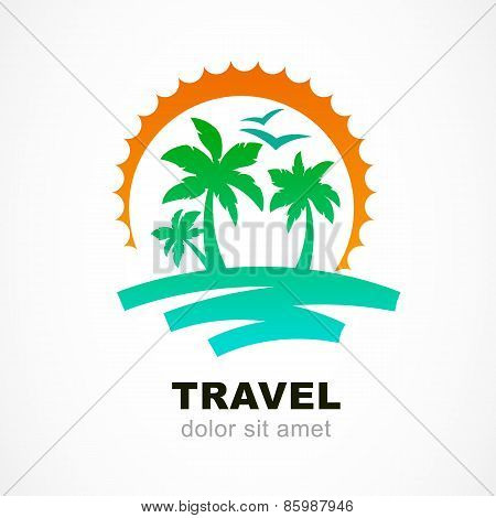 Vector Logo Design Template. Abstract Sun And Palm Tree On Seaside. Concept For Travel Agency, Tropi