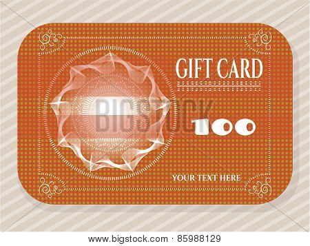 Elegant, dotted, brown gift card with huge, white sun and text on striped background