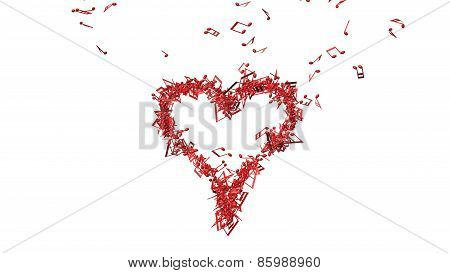 Background from lots of red music notes making one big heart