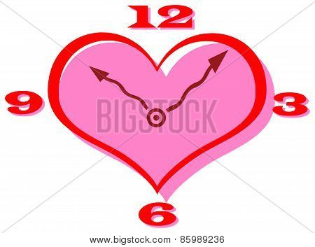 Vector Clip Art Of A Heart Shape Clock With Curly Hands