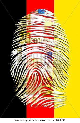 Euro fingerprint with german flag