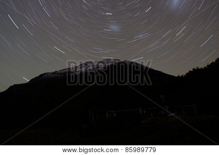 Nightscape star trails
