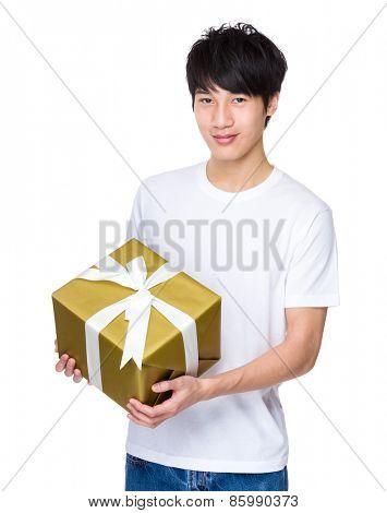Man holding xmas present