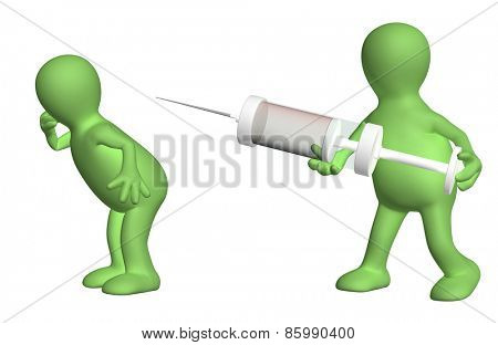 Doctor with a syringe and patient. Isolated on white background
