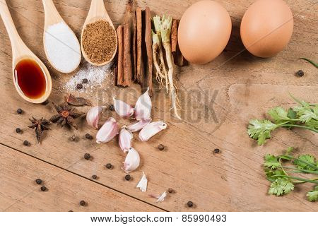 Ingredients Of Eggs And Pork Stewed  In The Gravy