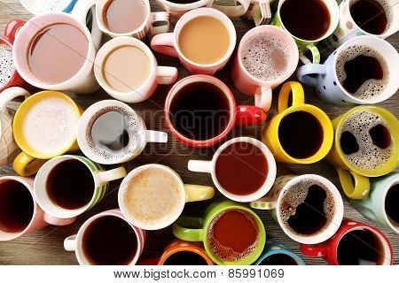Many cups of coffee, top view