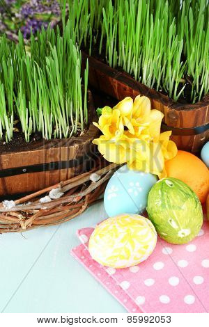 Easter eggs and green grass close-up