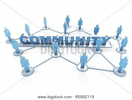 3D rendering of a group of interconnected people around the word community