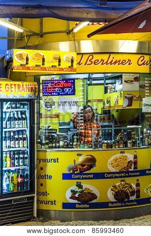 A Curry Sausage Hut Sells The Berlin Food Speciality Currywurst