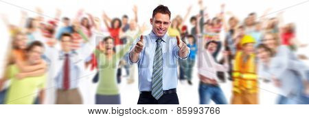 Businessman and Business people group on white background.