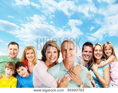 Happy family. Mother father and children portrait.