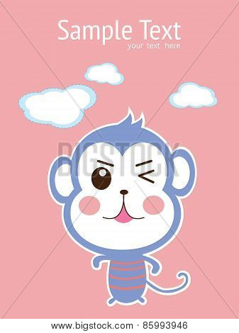 baby card with cute monkey. vector illustration