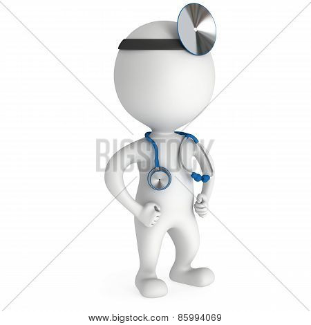 Doctor With A Stethoscope And Mirror.