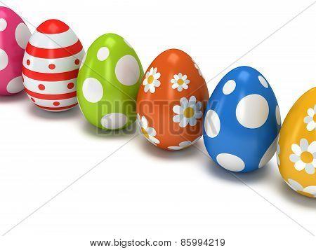 Easter Eggs Row On White