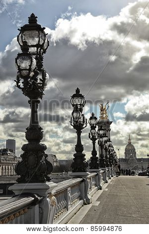 Row of street lamp with the institute of France in background