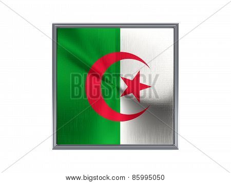 Square Metal Button With Flag Of Algeria