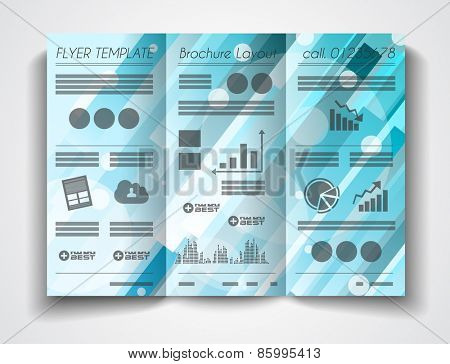 Vector tri fold brochure template design or flyer layout to use for business applications, magazines, advertising, product sheets, item notes, event flyers or meeting invitations.