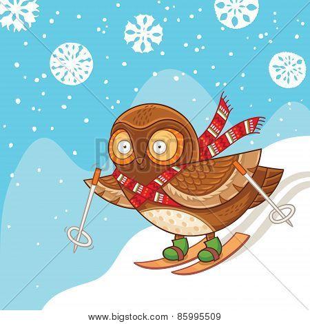 Cute cartoon owl skiing and having fun