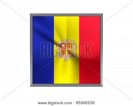 Square Metal Button With Flag Of Andorra