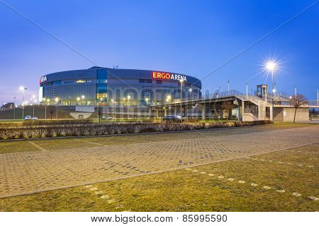 GDANSK, POLAND - MARCH 10, 2015: Stadium Ergo Arena at night on the boundary of two cities - Gdansk and Sopot in Poland. Ergo Arena has a capacity up to 15,000 people for sports events and concerts.