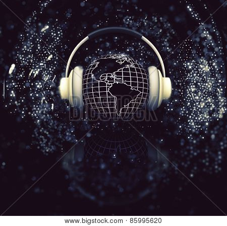 3D render of a globe with headphones on sparkle background