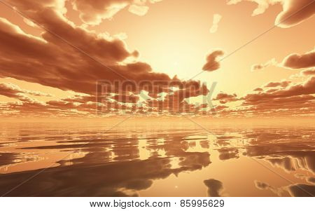 3D render of a dramatic sunset over the ocean