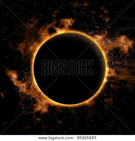 Space background with nebula and eclipsed planet