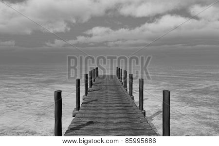 3D render of a black and white image of a jetty going into the sea