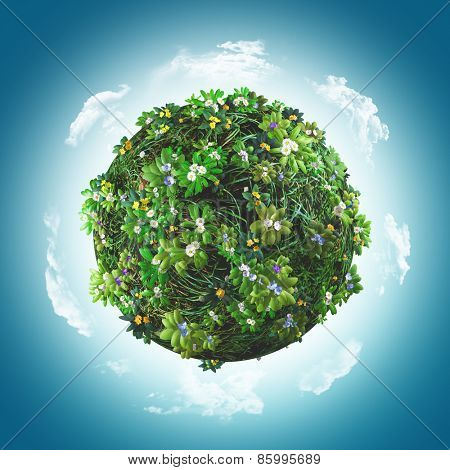 3D render of a globe covered in grass and flowers