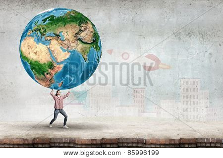 Young girl student carrying Earth planet. Elements of this image are furnished by NASA