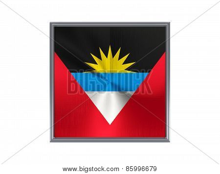 Square Metal Button With Flag Of Antigua And Barbuda