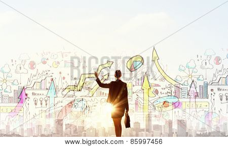 Rear view of businesswoman looking at business strategy sketch
